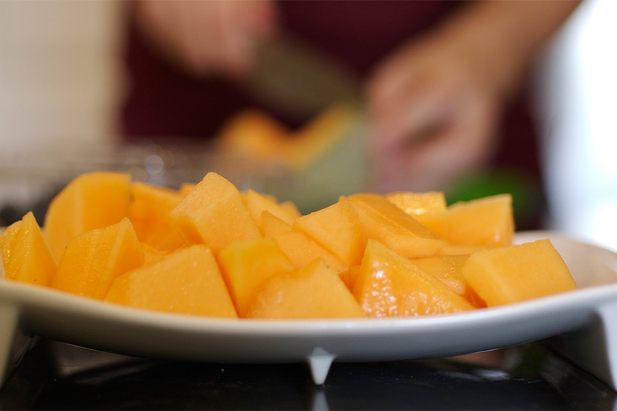 Cut cantaloupe on a plate