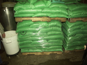Seed bags in storage at a sprouting facility.