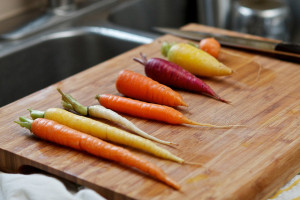 Carrots in a variety of colors.