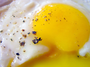 Eggs with runny yolk.