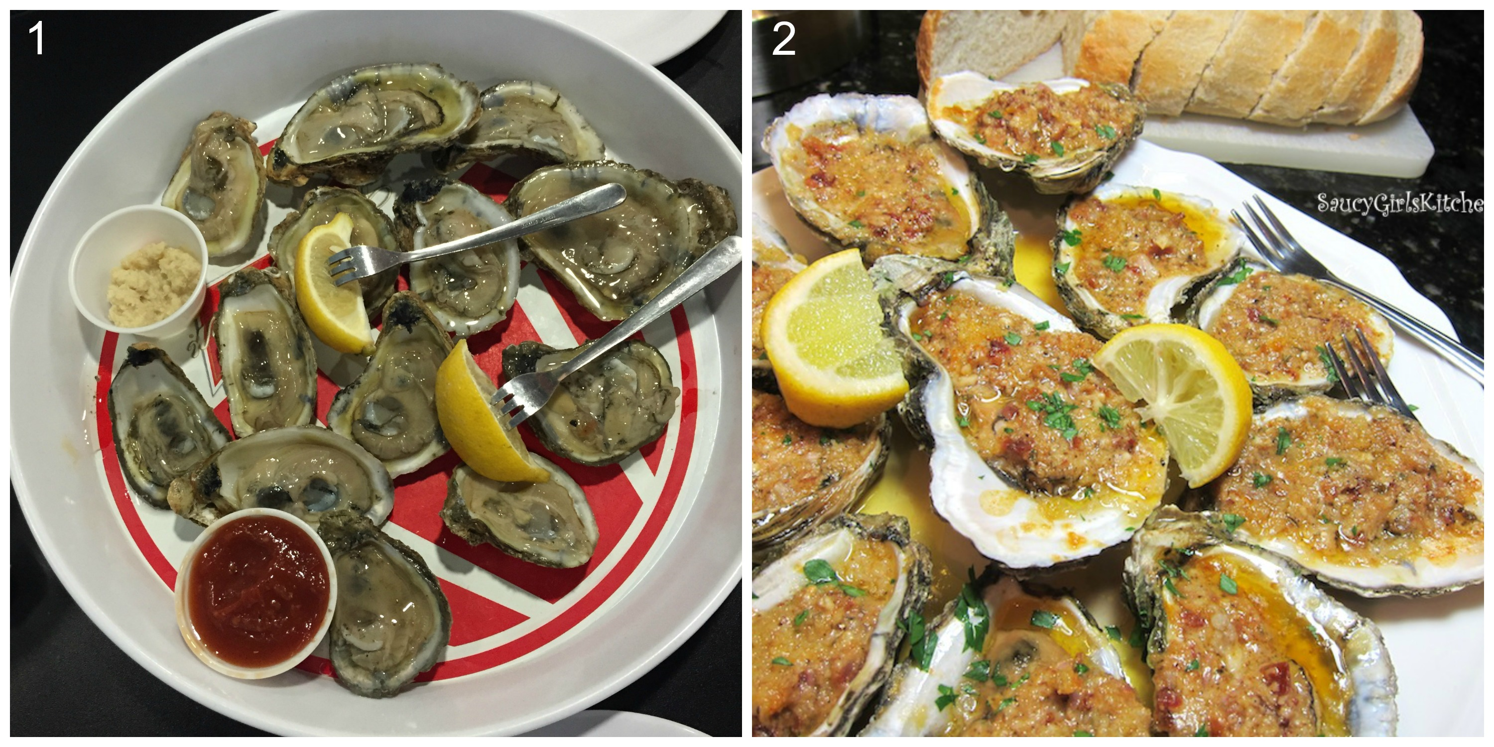 1) Raw oysters on the half shell. Source: Monica Oluwek 2) Baked stuffed oysters on the half shell. Source: Saucy Girl's Kitchen