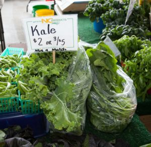Kale being sold at a farmer's market