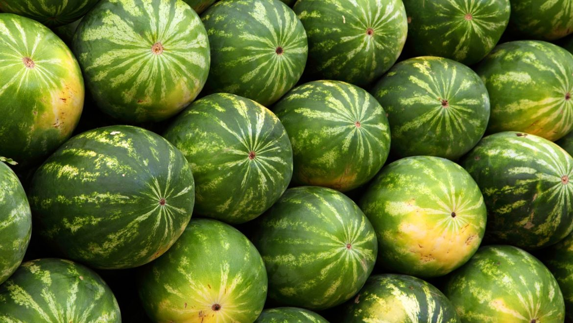 Watermelons stacked together